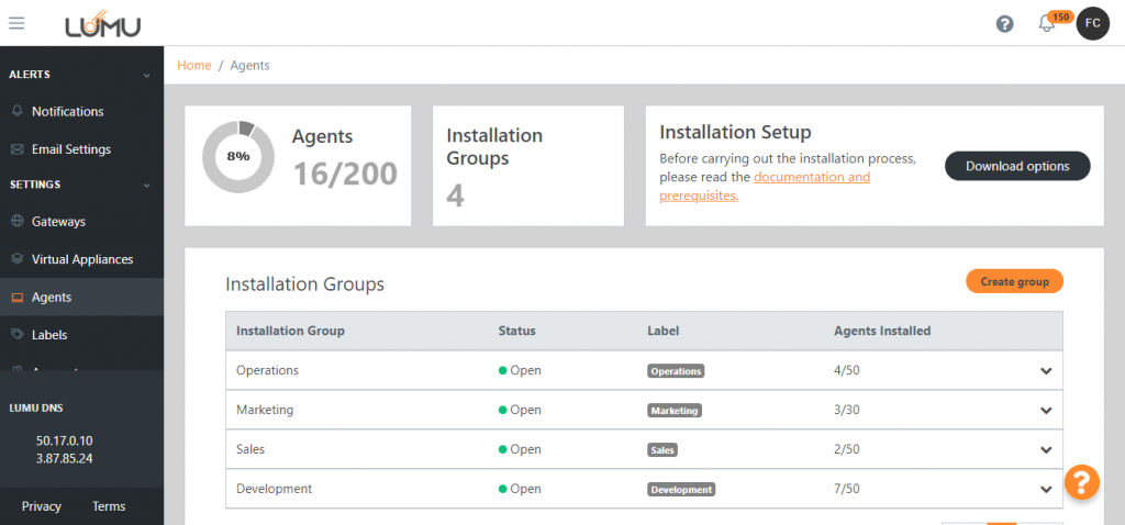 The Lumu Agent for Windows in the Lumu Portal. Shows compromises detected on critical and remote devices