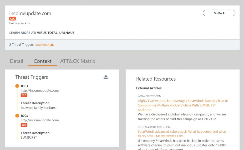 Screenshot of the Lumu Portal showing compromise context for a detected supply chain attack