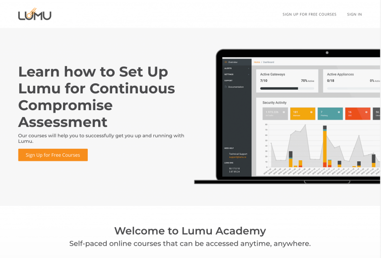 Lumu Academy is filled with self-paced cybersecurity course to help you control the impact of cybercrime with Lumu